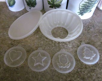 Vintage 1970's Tupperware Jell-O Mold with Star, Tulip, Heart and Tree Designs - Jello Mold - Holiday Molds - Collectible - Bobann23 Kitchen