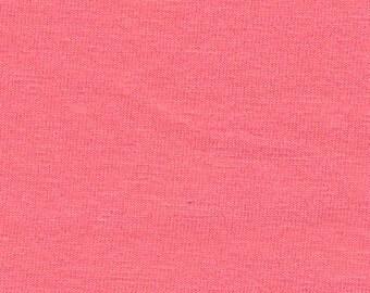 Solid Salmon Pink 4 Way Stretch 9oz Cotton Lycra Jersey Knit Fabric, 1 Yard