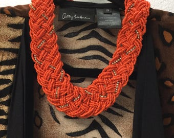 Beautiful VTG 60's Braided Beads Red Coral Statment Necklace