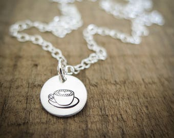Cup of Love - Coffee or Tea Mug with Heart - Hand Stamped Jewelry by Betsy Farmer Designs Sterling Silver, 14k Gold Fill, or Rose Gold Fill