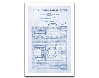 Military Tank Patent Art Giclee on archival matte paper
