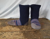 Men's 9-10 (EU 43-43.5) STARLIGHT Felted Wool Soccasins with Leather Soles, Toes and Heels
