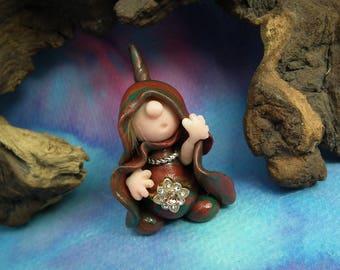 "Little-Known-Gnome 'Heff' hooded Master of Stealth 1+1/2"" OOAK Sculpt by Sculpture Artist Ann Galvin Art Doll"