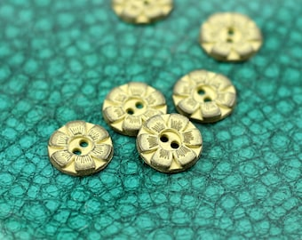 Metal Buttons - Small Flower Metal Hole Buttons , Gunmetal Yellow Color , 0.43 inch , 10 pcs