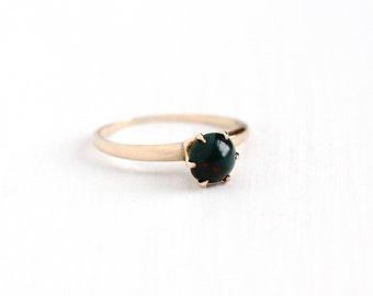 Antique 10k Rosy Yellow Gold Bloodstone Cabochon Ring - Vintage Size 7 3/4 Edwardian Raised Setting Green & Red Gem Dated 1915 Fine Jewelry