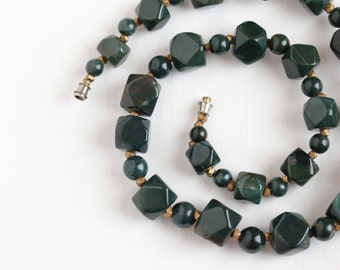 Sale - Vintage Genuine Bloodstone Bead Gem Necklace - 1970s Retro 300 + Carat Total Weight Green & Red Heliotrope Gemstone Statement Jewelry