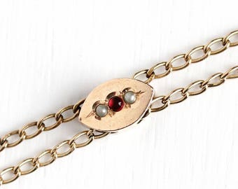 Antique 10k Gold Filled Slide Chain Necklace - Vintage Early 1900s Seed Pearl Red Cab Victorian Fob Pocket Watch Chain Jewelry
