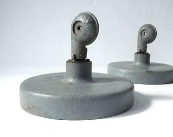 Vintage Industrial Articulating Light Lamp Bases / Cast Iron Bases / Pair of Articulating Light bases / Original Paint / Swiveling Base