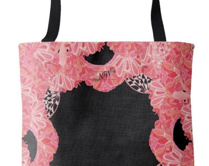 Black and Pink Watercolor Tote Bag