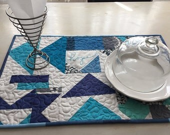 Improvised Geometric Shades of Blue Table Runner - Free Shipping