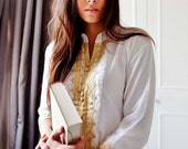 SPRING 10% OFF SALE //// White & Gold Embroidery Tunic, perfect for birthday gifts, honeymoon gifts, bridesmaid, bride, resort wear, beach,
