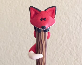 Polymer Clay Red Fox Ball Point Pen