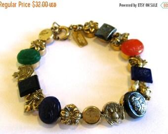 SPRING SALE Vintage 50s 60s Victorian Revival Gold & Glass Bead Accessocraft Bracelet