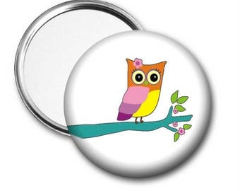 Owl On Branch Pocket Mirror - Personalized Mirror, Customized Mirror