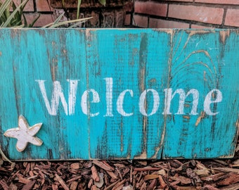 WELCOME Wooden Sign, Shelf Sitter, Secret Compartment, Rustic Wall Art