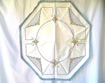 Octagonal Table Cloth with Hand Embroidery & Crocheted Lace