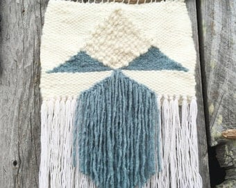 Blue and White Woven Wall Hanging / Tapestry Weaving
