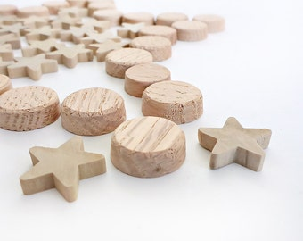Small Wooden Discs and Stars for Crafts, Blanks