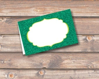 "Emerald Green Glitter Printable Food Tags or Placecards 3.5 x 2.25"" Tent-Style - INSTANT DOWNLOAD"