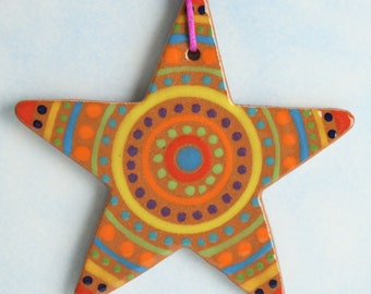 Medium Red Clay Star, Handmade Ceramic Star, Pottery Ornament, Tree Ornament, Handmade Gift, Colorful Clay Christmas Star, Star Gift Tag