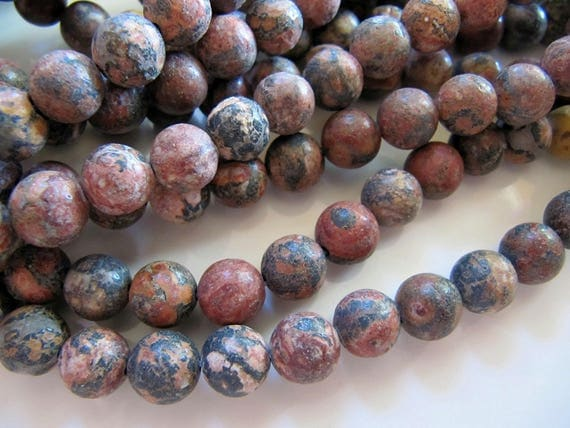 8mm Leopardskin Jasper Beads In Warm Brown Ginger And