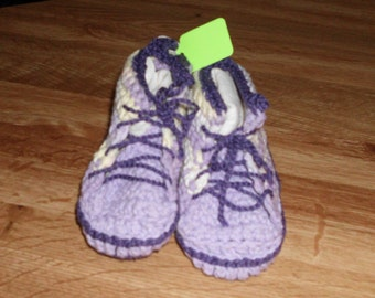 Handmade Crocheted High Tops Booties Slippers  Baby or Toddler