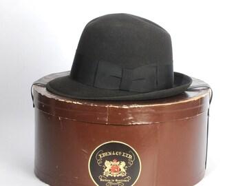 Men's Derby Hat Original Hat Box Brown Wool Fedora Bowler