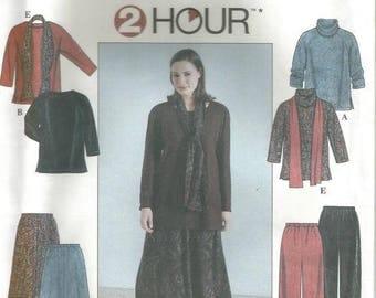 Plus Size Women's Skirt Pants Top Scarf Simplicity 8805 Uncut Factory Folds Sizes 26W - 32W Bust 48 - 54