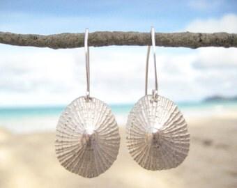 Sterling Silver Opihi Earrings, Hawaiian Shell Earrings, Limpet Earrings, Beach Wedding Jewelry