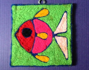 Huichol Folk Art Yarn Painting, Made in Guadalajara, 1960's Collectible!