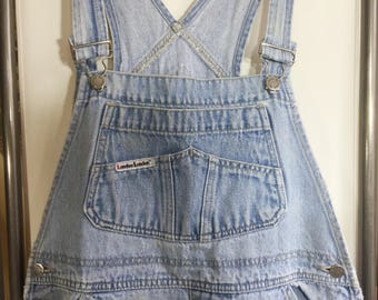 Adult L, Denim Overalls, London London, distressed denim, vtg denim overalls, size L overalls, woman's overalls, vintage overalls
