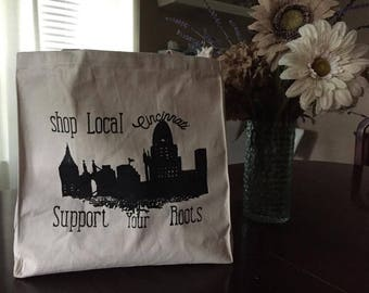 Shop Local Cincinnati Heavy Duty Canvas Grocery Tote Bag