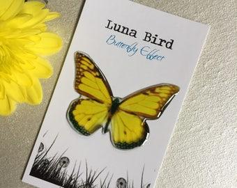 Butterfly Effect Brooch, Yellow (YB26) by Luna Bird for the 1200 Butterfly Wall at Butterfly Effect Exhibition