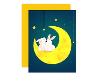 Bunny Love you to the moon and back Card
