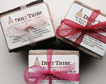 SOAP STACK Bundle - SAMPLER - stack of 3 Soaps - Handmade by Dirt Tribe