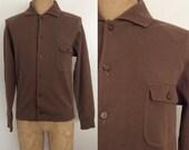 SALE 1960's Brown Wool Men Vintage Cardigan Sweater