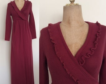 1970's Raspberry Knit Sweater Maxi Dress w/ Ruffle Bust Size XS Small Medium by Maeberry Vintage