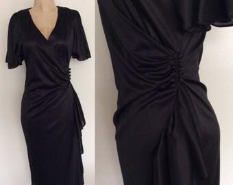 1980's Slinky Black Wrap Dress