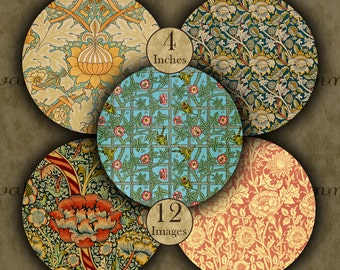4 inch WILLIAM MORRIS Digital Printable Circles collage sheets for Coasters and Crafts...Arts & Crafts Movement - Art Nouveau