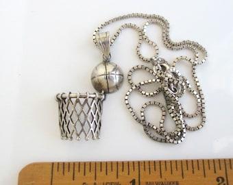 "925 Sterling Silver BASKETBALL Pendant Necklace - 18"", Vintage 3D"