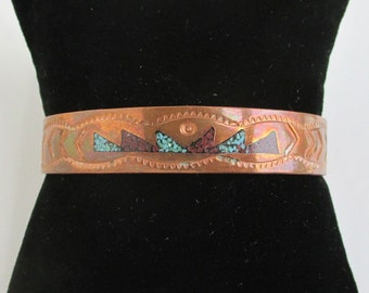 Solid Copper Cuff Bracelet w/ Turquoise & Coral Inlay - Vintage Southwestern / Native American