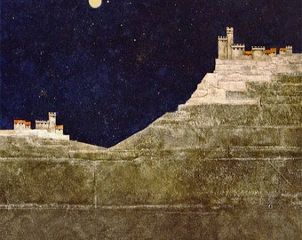 Italy art print/Tuscany landscape/architecture/moon print/stars print/fine art/giclee/print/16 x 16