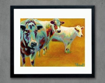 Cattle Giclee Art Print from Original Painting - Cow Signed Limited Edition Reproduction