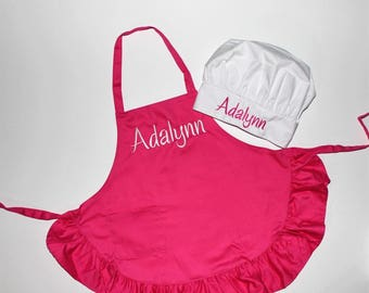 Personalized Child's Hot Pink Ruffled Apron Embroidered with Name PLUS Chef Hat