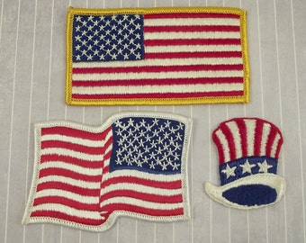 Lot of 3 Vintage and Newer Iron On | Sew On Patriotic USA Patches, Reverse American Flag Patch, Uncle Sam Hat, Veteran Biker Appliques