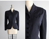 50's Jacket // Vintage 1950's Navy Gabardine Wool Fitted Hourglass Jacket M L
