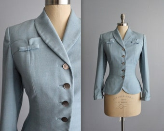 50's Jacket // Vintage 1950's Baby Blue Wool Fitted Hourglass Jacket S