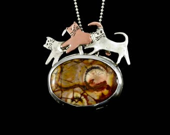 Cat Lover Jewelry Gift For Mom, Picasso Jasper Jewelry Gift, Kitty Lover Jewelry, Sterling Cat Necklace, Robin Wade Jewelry, Pendant, 2440