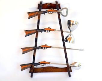 Vintage Western Rifle Cocktail Mixer Barware Set COMPLETE in Wooden Hanging Rack: 4 Bar Tools -- Bottle Opener, Jigger, Spoon & Olive Fork