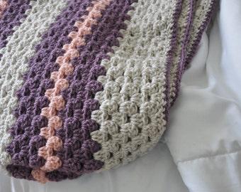 Granny Stripe Blanket Afghan Baby Blanket Purple Pink Gray Baby Shower Throw